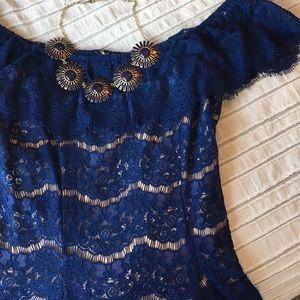 Francesca's Navy Lace Off-Shoulder Dress